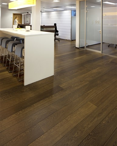 Hakwood Unfinished flooring in central space