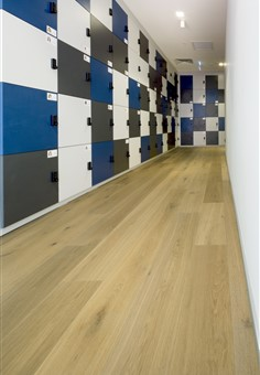 Hakwood Noble flooring in locker room