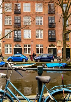Exterior of the canal view apartment in Amsterdam
