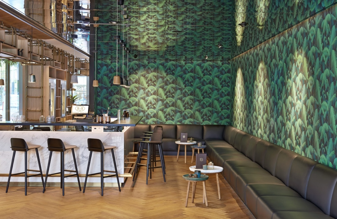 Hakwood Bespoke flooring in bar area Hyatt Amsterdam