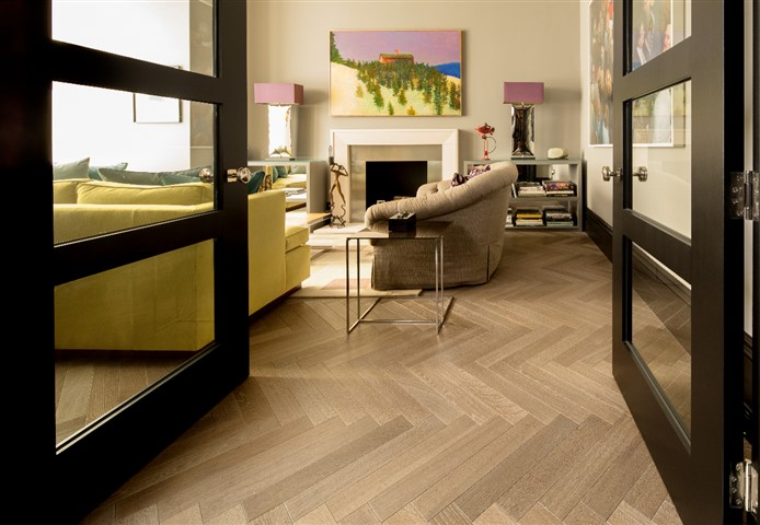 Hakwood Drift flooring in the living room, perspective from the open doors