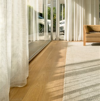 Hakwood Serenity Flooring and curtains.