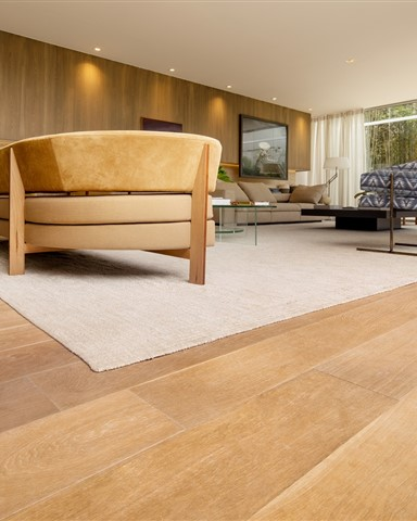 Hakwood serenity flooring in the living room.