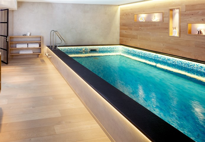 Hakwood Bespoke flooring with swimming pool
