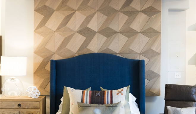 Hakwood Wall Tiles behind the bed in the Costa Mesa showroom