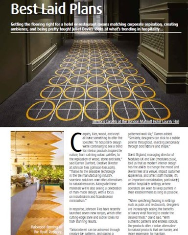 The article in InDesign Magazine with photo of Hakwood flooring at the Hyatt Regency Amsterdam hotel