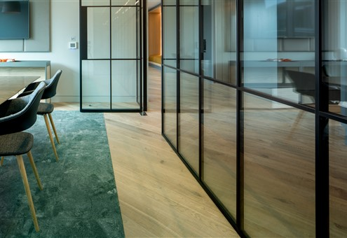 Hakwood Forza flooring with a wall of glass