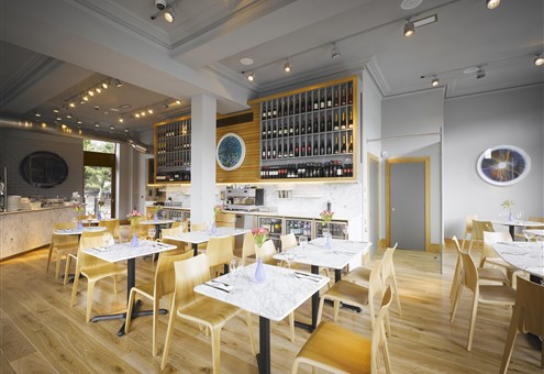 Hakwood White wash flooring in restaurant