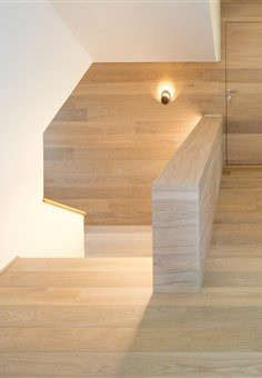 Hakwood Flourish flooring at staircase and walls