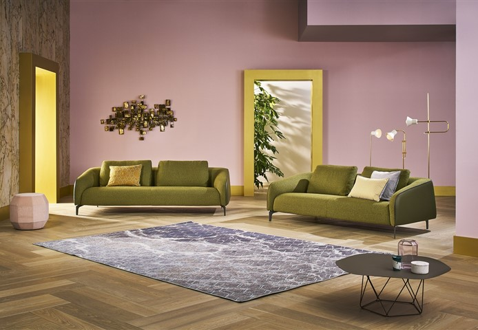 Hakwood Locke flooring with two seats and a pink wall