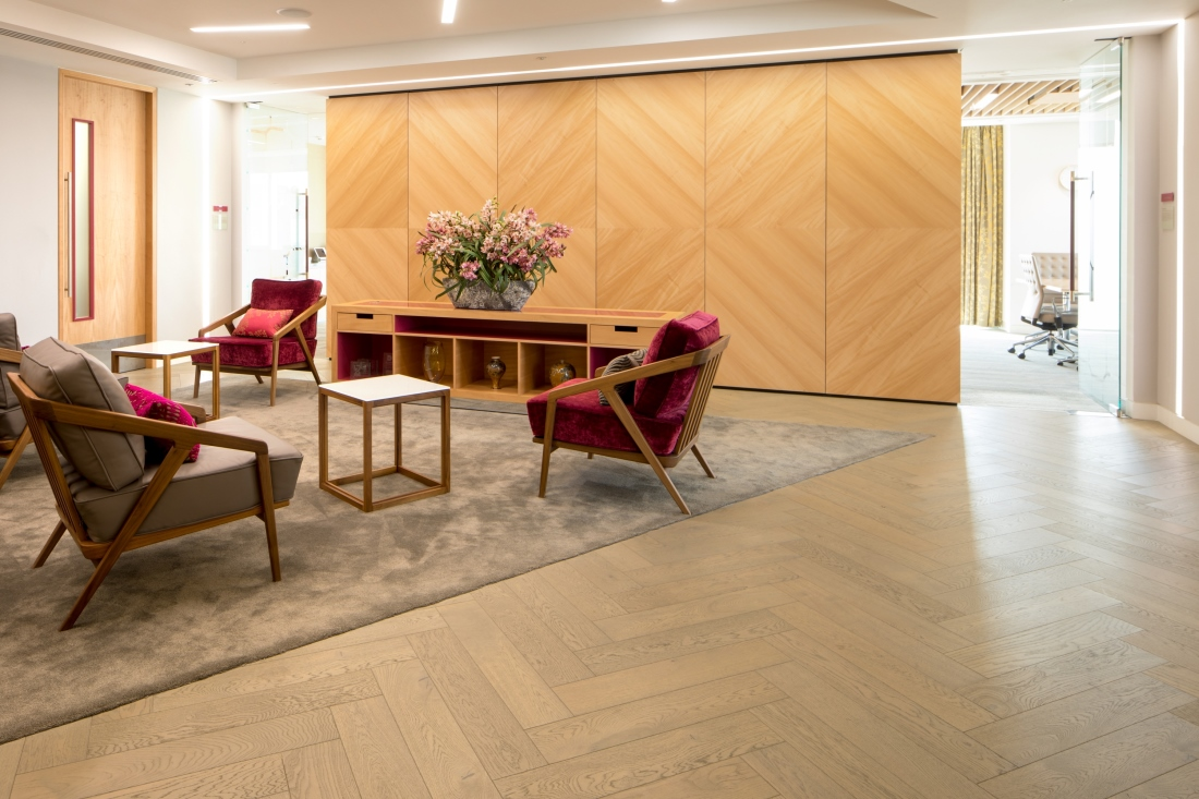 Hakwood flooring in central space