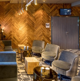 Hakwood Larroque flooring on the wall in seating area