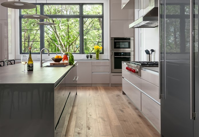 Hakwood Bespoke flooring in kitchen