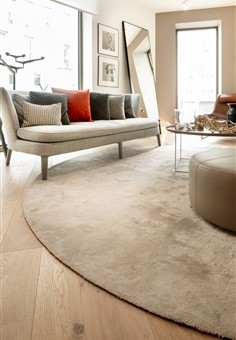 Hakwood Destin flooring in living room with circular rug