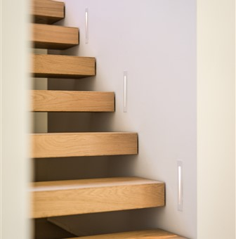 Deatil of the staircase with Hakwood Pure flooring