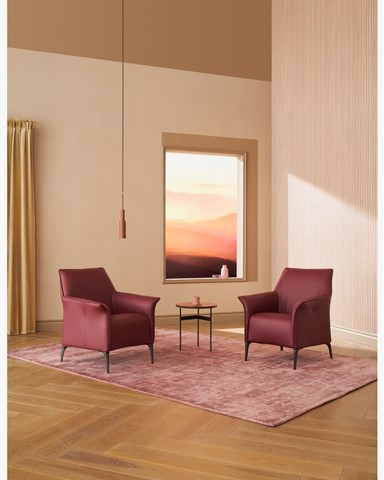 Hakwood Dawn flooring with bordeaux red chairs