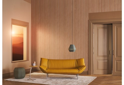 Hakwood Dawn flooring with yellow bench in living room setting
