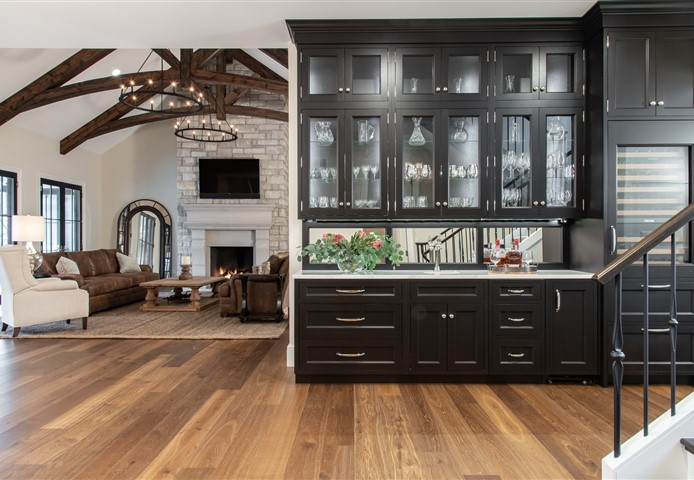 Hakwood Promise flooring with dark kitchen unit