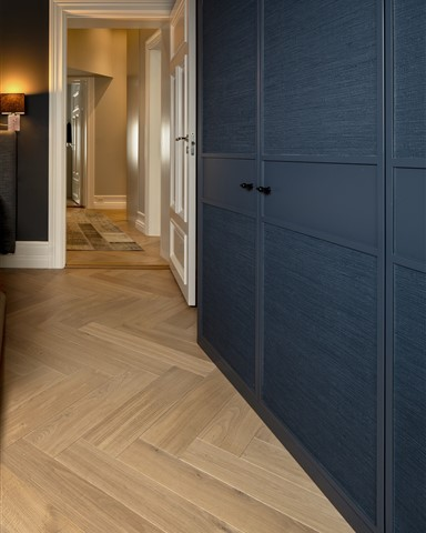 Hakwood Valor flooring with blue closet doors
