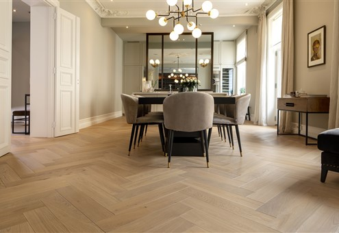 Dining room contains Hakwood Valor flooring