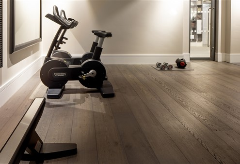 Gym with Hakwood Bespoke flooring