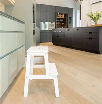 Hakwood Valor flooring in kitchen with stepladder