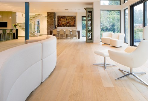 Hakwood Aura flooring in living room with design chairs