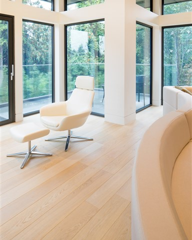 Hakwood Aura flooring with seating and large windows