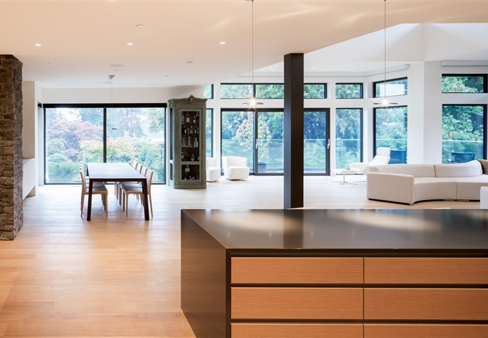 Hakwood Aura flooring in kitchen with view of the dining table