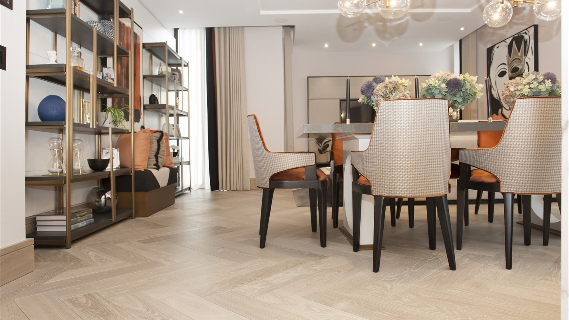 Hakwood Locke flooring at dining room
