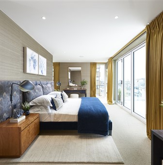 Hakwood Vue flooring in the bedroom with large windows