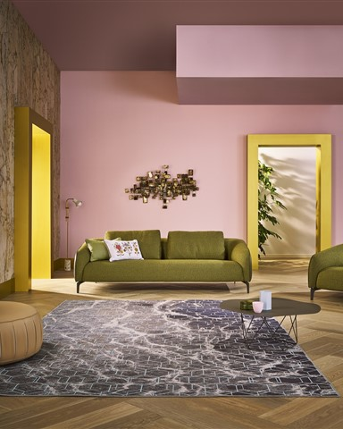 Hakwood Locke flooring with bench and pink wall