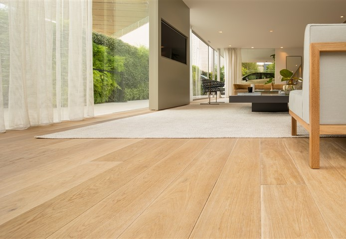 Hakwood serenity flooring in the living room and view.