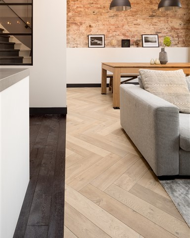 Hakwood Muse and Grimm flooring in living room and kitchen
