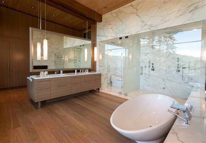 Hakwood Bespoke flooring in bathroom