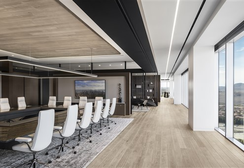 Meeting room with Hakwood Storm flooring with large windows