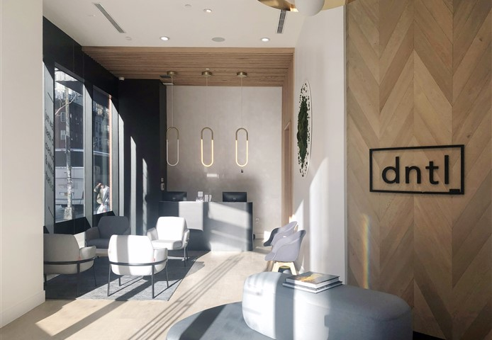 Seating area at dntl bar with Hakwood Misty flooring