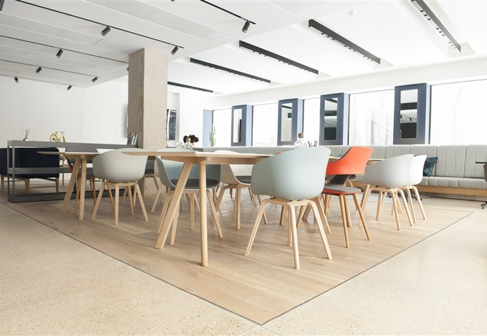 Overview at work space with Hakwood Forza flooring