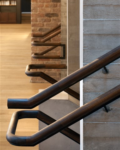 Everyman Theatre stairway detail with Hakwood Savoy flooring at the background