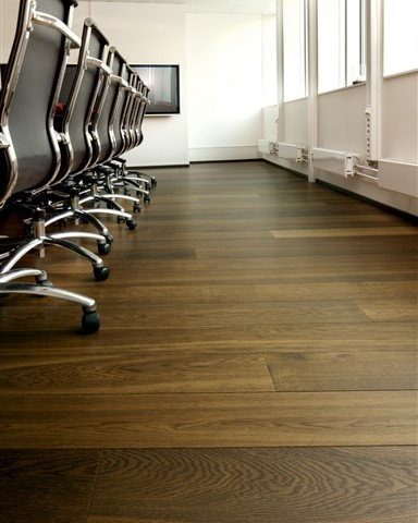 Hakwood Unfinished flooring detail at conference room
